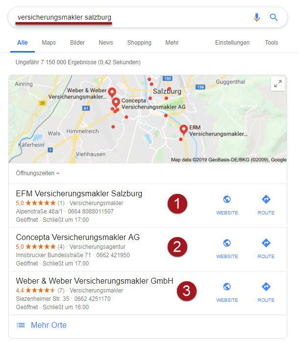 Top 3 Suchmaschinen-Positionen