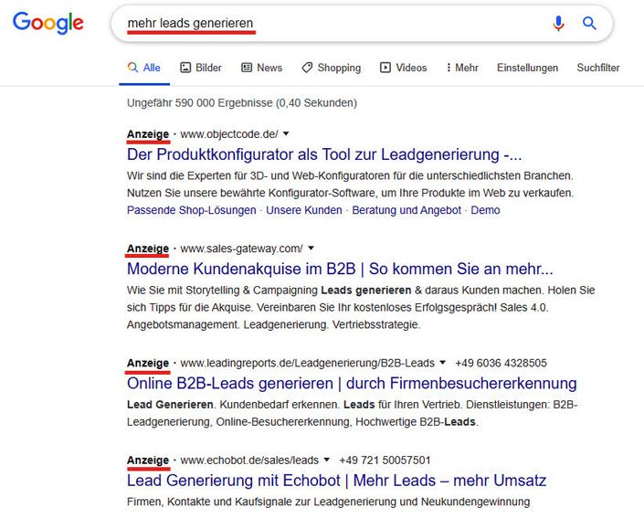 Google-Ads-Anzeigen