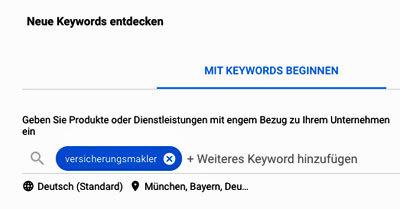 Google-Ads Neue Keywords entdecken
