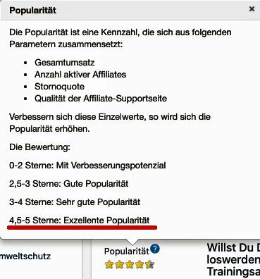 Hohe Digistore24 Popularität