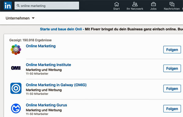 Linkedin Unternehmen suchen